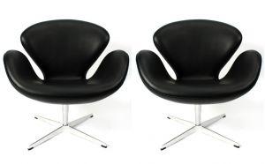 2 st. Arne Jacobsen Svanen i Alaska Svart Anillin