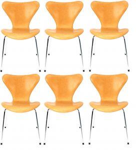 6 stk. Arne Jacobsen Syveren 3107 Natur anilin