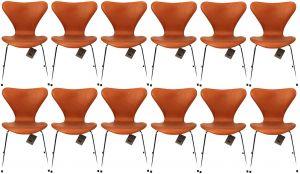 12 stk. Arne Jacobsen 3107 Alaska Cognac Anilin Nye Stole