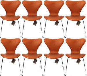 8 stk. Arne Jacobsen 3107 Alaska Cognac Anilin Nye Stole