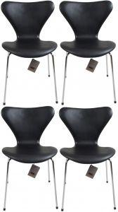 4 stk. Arne Jacobsen 3107 Alaska Sort Anilin Nye Stole