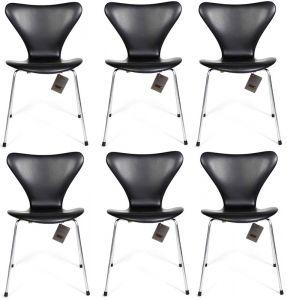 6 stk. Arne Jacobsen Syveren 3107 Classic Sort læder Nye stole