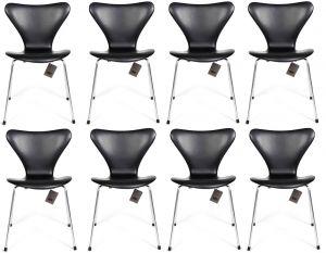8 stk. Arne Jacobsen Syveren 3107 Classic Sort læder Nye stole