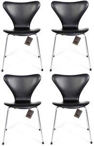 4 stk. Arne Jacobsen Syveren 3107 Classic Sort læder Nye stole