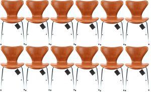 12 stk. Arne Jacobsen 3107 Legance Cognac Anilin Nye Stole