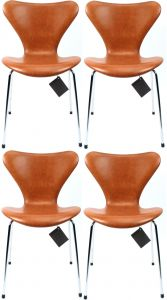 4 stk. Arne Jacobsen 3107 Legance Cognac Anilin Nye Stole