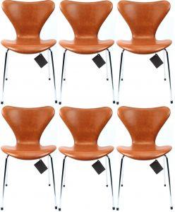 6 stk. Arne Jacobsen 3107 Legance Cognac Anilin Nye Stole