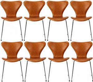 8 stk. Arne Jacobsen Syveren 3107 Vacona Nougat Anilin