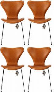 4 stk. Arne Jacobsen Syveren 3107 Vacona Nougat Anilin Nye stole