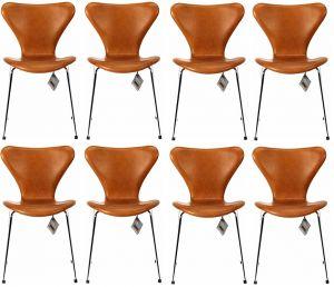 8 stk. Arne Jacobsen Syveren 3107 Vacona Nougat Anilin Nye stole