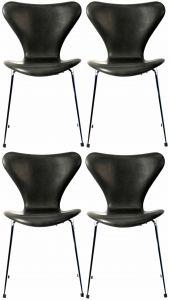 4 stk. Arne Jacobsen Syveren 3107 Vacona Sort Anilin