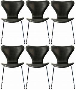 6 stk. Arne Jacobsen Syveren 3107 Vacona Sort Anilin