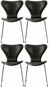 4 stk. Arne Jacobsen Syveren 3107 Vacona Sort Anilin Nye stole