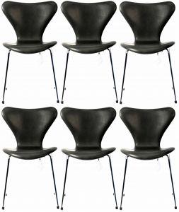 6 stk. Arne Jacobsen Syveren 3107 Vacona Sort Anilin Nye stole