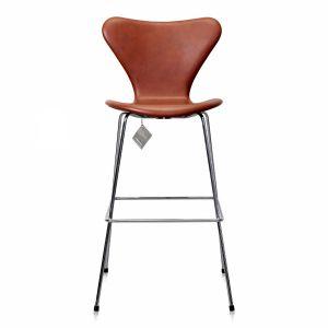NY Arne Jacobsen Barstol 3187/3197 Brandy Classic Læder