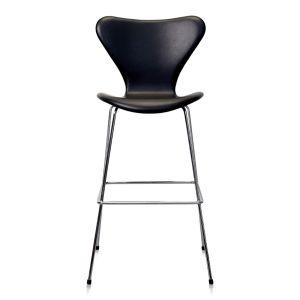 Arne Jacobsen Barstol 3187 Classic Sort Semi Anilin