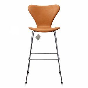 Ny Arne Jacobsen Barstol 3187/3197 Vacona Nougat Anilin
