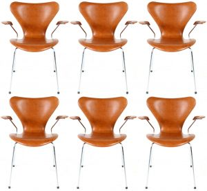 6 stk. Arne Jacobsen Syveren 3207 Legance Cognac Anilin