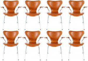 8 stk. Arne Jacobsen Syveren 3207 Legance Cognac Anilin