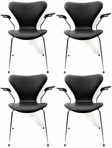 4 stk. Arne Jacobsen Syveren 3207 Alaska Sort Anilin
