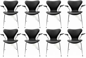 8 stk. Arne Jacobsen Syveren 3207 Alaska Sort Anilin