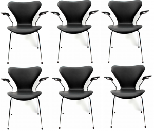 6 stk. Arne Jacobsen Syveren 3207 Alaska Sort Anilin