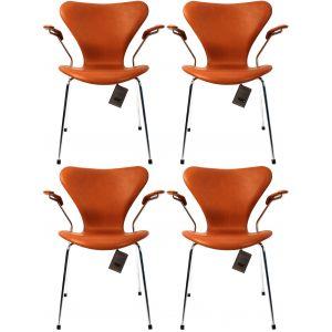 4 stk. Arne Jacobsen Syveren 3207 Alaska Cognac Anilin Nye stole