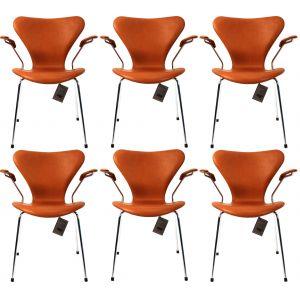 6 stk. Arne Jacobsen Syveren 3207 Alaska Cognac Anilin Nye stole