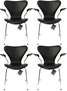 4 stk. Arne Jacobsen Syveren 3207 Alaska Sort Anilin Nye stole