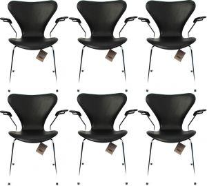 6 stk. Arne Jacobsen Syveren 3207 Alaska Sort Anilin Nye stole