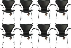 8 stk. Arne Jacobsen Syveren 3207 Alaska Sort Anilin Nye stole