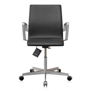 NY Arne Jacobsen Oxford kontorstol med lav ryg Alaska Sort