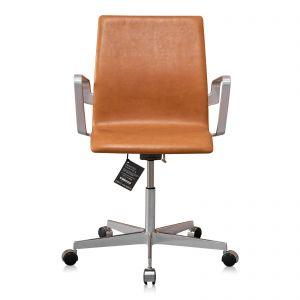 NY Arne Jacobsen Oxford kontorstol med lav ryg Vacona Cognac