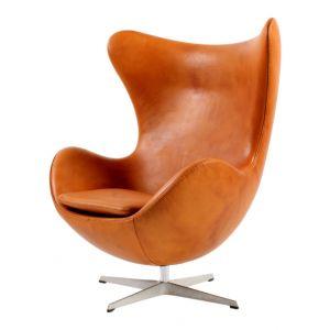 Arne Jacobsen Ägget med fotpall Alaska Cognac Anilin