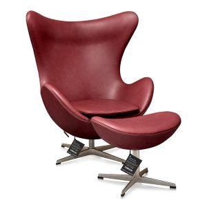 NY Arne Jacobsen Ægget originalt Elegance Indian Red Anilin med skammel