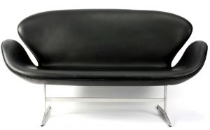 Arne Jacobsen  svanesofa sort anilin læder 1