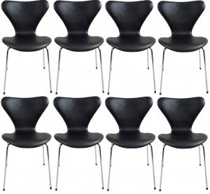 8 stk. Arne Jacobsen Syveren 3107 Alaska Sort Anilin