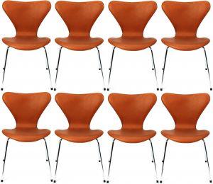 8 stk. Arne Jacobsen Syveren 3107 Alaska Cognac Anilin