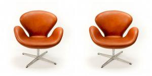 2 stk. Arne Jacobsen Svaner i Alaska Cognac Anilin