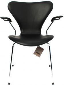 Arne Jacobsen Syveren 3207 Alaska Sort Anilin Ny stol
