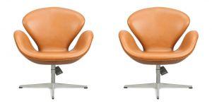 2 st. NYA Arne Jacobsen Svanen i Classic Cognac Semianilin Läder