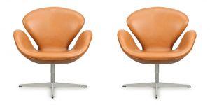 2 stk. Arne Jacobsen Svaner i Classic Cognac Semianilin