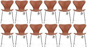 12 stk. Arne Jacobsen Syveren 3107 Classic Brandy læder Nye stole