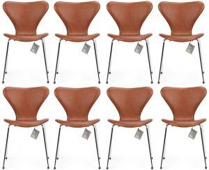 8 stk. Arne Jacobsen Syveren 3107 Classic Brandy læder Nye stole