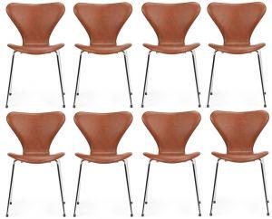8 stk. Arne Jacobsen Syveren 3107 Classic Brandy læder  2