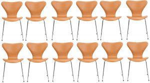 12 stk. Arne Jacobsen Syveren 3107 Classic Cognac læder  2