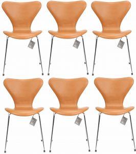 6 stk. Arne Jacobsen Syveren 3107 Classic Cognac læder Nye stole