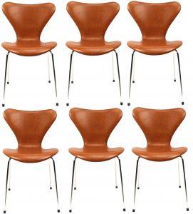 6 stk. Arne Jacobsen Syveren 3107 Legance Cognac Anilin