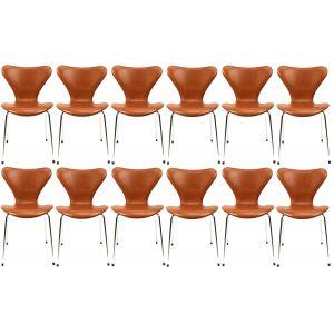 12 stk. Arne Jacobsen Syveren 3107 Legance Cognac Anilin