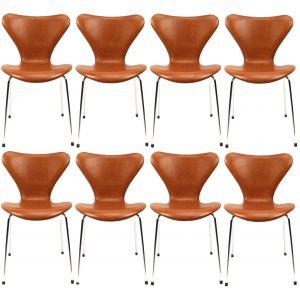 8 stk. Arne Jacobsen Syveren 3107 Legance Cognac Anilin